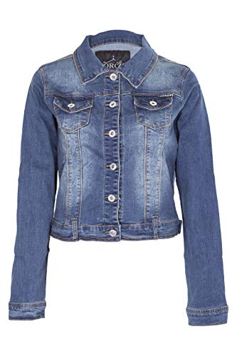 NOROZE Women Basic Denim Cropped Jacket Stretch Vintage Wash Top (10, Vintage Wash Navy)
