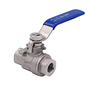 "DERNORD Full Port Ball Valve Stainless Steel 304 Heavy Duty for Water, Oil, and Gas with Blue Locking Handles (1/4"" NPT) from DERNORD"