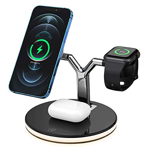 BlueBee - Nuevo Cargador inalámbrico magnético rápido 3 en 1, Compatible con QI, Adecuado para iPhone 12 Pro MAX iWatch Airpods Soporte para teléfono de Escritorio con Carga inalámbrica