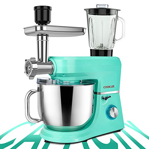 COOKLEE 6-IN-1 Stand Mixer, 8.5 Qt. Multifunctional Electric Kitchen Mixer with 9 Accessories for Most Home Cooks, SM-1507BM, Mojito Blue