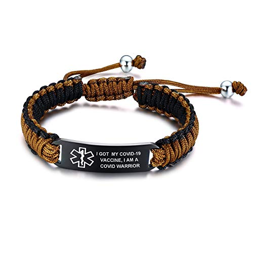 PJ JEWELLERY I GOT.-Stainless Steel Braided Rope Wrist Bracelet for Vaccinated Adults Older,Customise Medical Alert ID Vaccination Awareness Bracelets for Men Women