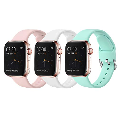 Sichy Correas Compatible con Apple Watch 38mm 42mm 40mm 44mm, Correa de Silicona Suave de Repuesto Compatible con iWatch Series 6, 5 4 3 2 1, SE, 42mm/44mm-S/M, 7 Pack