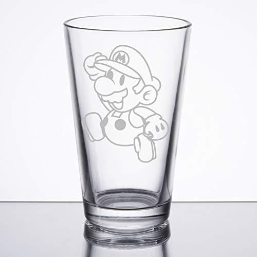 Super Mario Bros - Paper Mario - Etched Pint Glass
