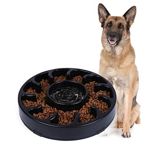 JASGOOD Slow Dog Bowl for Large Dogs,Fun Bowl Slow Feeder,Anti-Gulping Dog Slow Feeder Stop Bloat,Slow Eating Big Pet Bowl (A-Black)