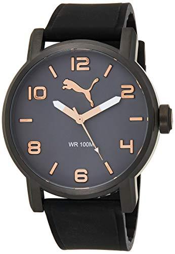 Puma Alternative Round - Reloj análogico de cuarzo con correa de silicona para hombre, color negro/gris