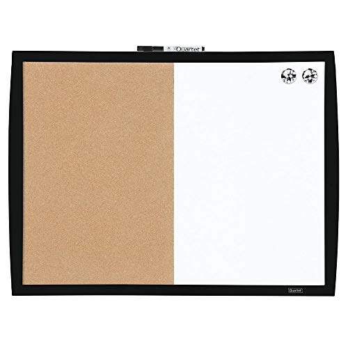 "Quartet Combination Magnetic Whiteboard & Corkboard, 17"" x 23"", Combo White Board & Cork Board, Curved Frame, Perfect for Office & Home Decor, Home School Message Board, Black (41723-BK)"