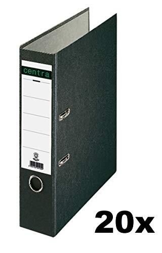 Centra Standard-Ordner (grauappe RC, mit Wolkenmarmor-Papier-Kaschierung, A4, 8 cm Rückenbreite) schwarz, 20 Stück