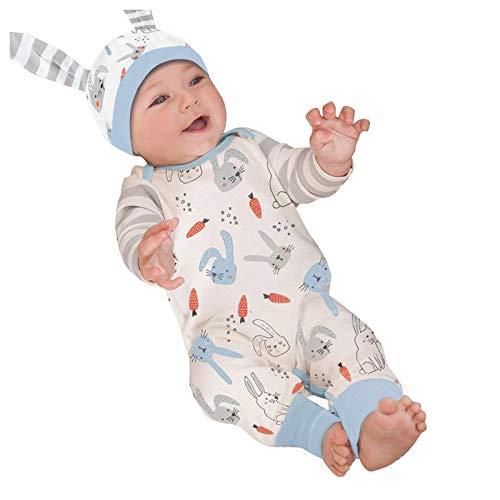 Mein erstes Ostern Neugeborene Baby Overall Mit Hasenohr Mütze Karikatur Osterhase Motiv Baby Jumpsuit Ostern Baby OutfitsFestlich Onesies Easter Baby Kleidung Jungen Mädchen Bunny Strampler