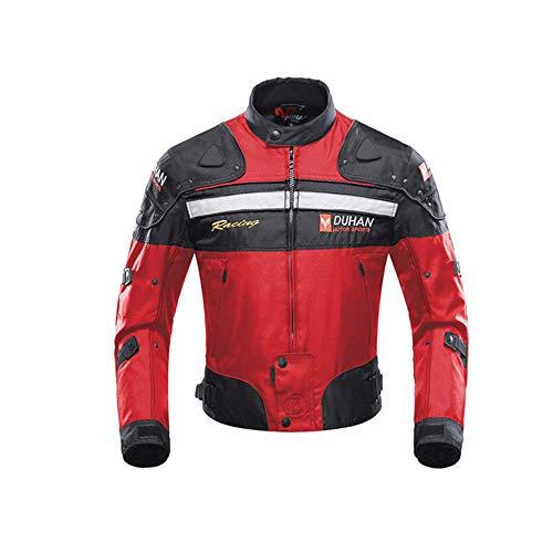 DUHAN Motorcycle Jackets Men Riding Motocross Enduro Racing Waterproof Jacket Moto Jacket Windproof Clothing Protection (Red jacket, XXL)