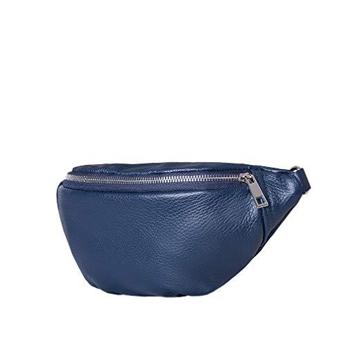 SKUTARI Original Emporio Classic, Unisex Bauch- und Umhängetasche aus echtem Leder mit extra Langen Gurt und Reißverschlussinnentasche, handgefertigt in Italien   14 x 32 x 9 cm (Blau)