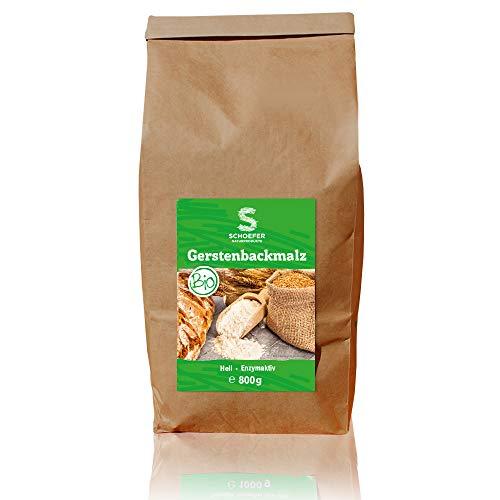 Schoefer Bio Backmalz hell – enzymaktives Malzmehl – 100% Gerste ohne Zusatzstoffe – Gersten-Malz für knusprige Brote und Brötchen – 800g