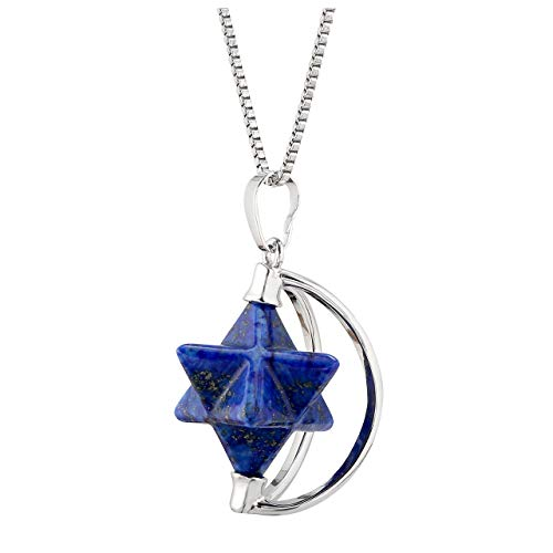 JSDDE - Ciondolo girevole Merkaba a forma di stella, gemma Chakra con mezzaluna, collana per donne, ragazze e uomini e Rame, colore: Lapis Lazuli, cod. GGDE0023