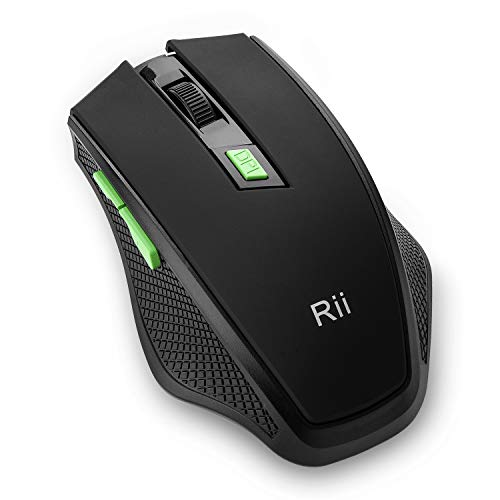 Rii RM103 2.4G Wireless Optical Mouse with 1000 1200 1600 DPI, 6 Buttons,USB Plug & Play,Innovative Design for Notebook, PC, Laptop, Computer, MacBook