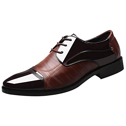 Celucke Herren Derby Schnürhalbschuhe Anzugschuhe Oxford Schuhe, Business Lederschuhe Smoking Lackleder Hochzeit Derby Leder Brogue