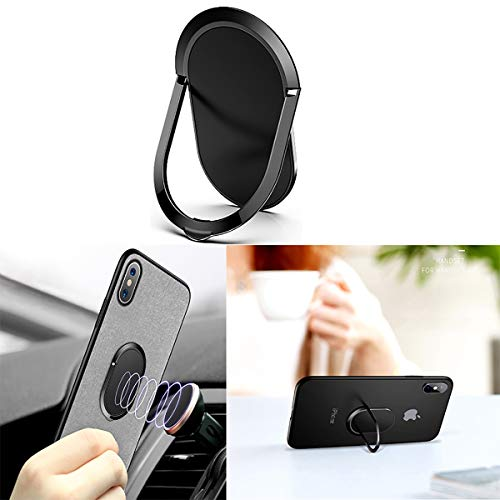 Super Slim Thin Phone Ring Holder 360 Degree Rotation Finger Add On Kickstand Metal Ring Grip for Magnetic Car Mount Compatible with All Smartphone(Black)