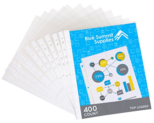 400 Sheet Protectors, 11 Hole Lightweight Binder Sleeves, Designed to Protect Frequently Used 8.5 x 11 Papers, Acid and PVC Free Page Protector, Clear Plastic Design, 9.25 x 11.25 Top Loaded, 400 ct
