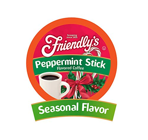 Friendly's Peppermint Flavored Coffee Pods for Keurig K Cup Brewers, Peppermint Stick, 40 Count