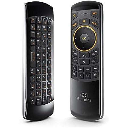 Rii Mini I25 - Mini teclado Air Mouse y mando a distancia por infrarrojos inalámbrico (Azerty), con ratón giratorio, para Android TV Box, Mini PC, ...