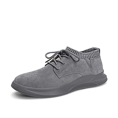Datouya Men's Hiking Boots, Round Toe Rubber Sole, Low-Toed Elastic Synthetic Leather Shoes Provide The Best Comfort for Your All-Weather Life (Color : Gray, Size : 40 EU)