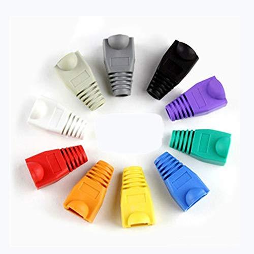 Bluesky - Funda para conector de cable Ethernet RJ45 CAT5E CAT6, plástico suave, 100 unidades, 50 PCS 10 Colors