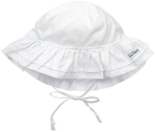 Flap Happy Baby Girls' Upf 50+ Double Ruffle Hats, White, Small