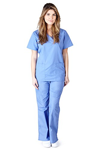 Natural Uniforms Women's Mock Wrap Scrub Set (Ceil Blue) (Small)