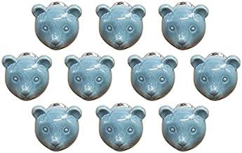 Cartoon dierlijke vorm keramische deur handvat AOOF dressoir keuken kast lade handvat 10 stuks, grijs (blauw)