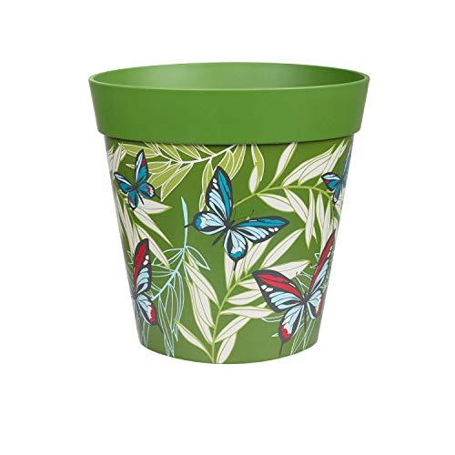 Hum Flowerpots, green butterfly palms plant pot, outdoor/indoor plastic planter 22cm x 22cm (15 designs available)