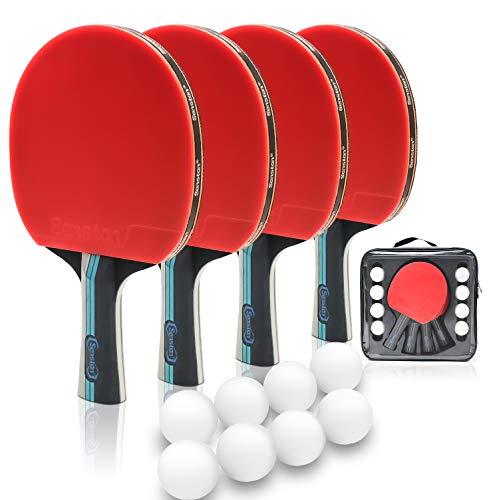 Senston Tischtennisbälle und Schlägersets, 4 Tischtennisschläger mit 8 Bällen, Ping Pong Paddel Set mit Tragetasche, Indoor Outdoor Aktivität