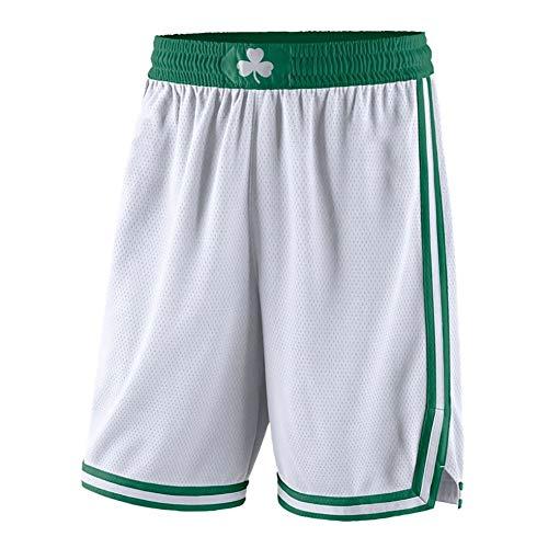 YSPORT Boston Celtics Pantaloncini Basket Maglia Ricamata Swingman Alta Elasticità Pantaloncini Allenamento Traspirante Asciugatura Veloce (Color : White-B, Size : XL)