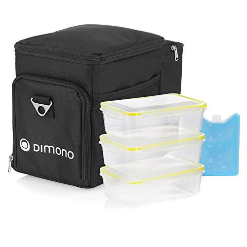 Dimono Kühltasche Picknicktasche 15 Liter - Lunchtasche Isotasche für Mittagessen inkl. 3 Boxen, Kühlakku