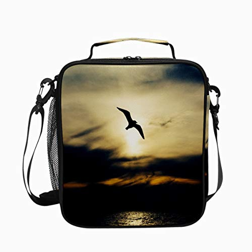 Seabird Seagull Wings Flight Premium Insulated Lunch Box Spacious Durable School Lunch Bag for Kids Boys Girls Reusable Leakproof Cooler Tote Bag with Removable Shoulder Strap for Adults Men Women