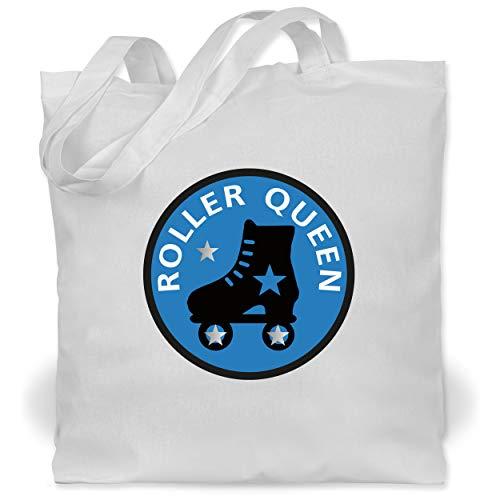 Shirtracer Vintage - Roller Queen Rollschuh - Unisize - Weiß - Motto - WM101 - Stoffbeutel aus Baumwolle Jutebeutel lange Henkel