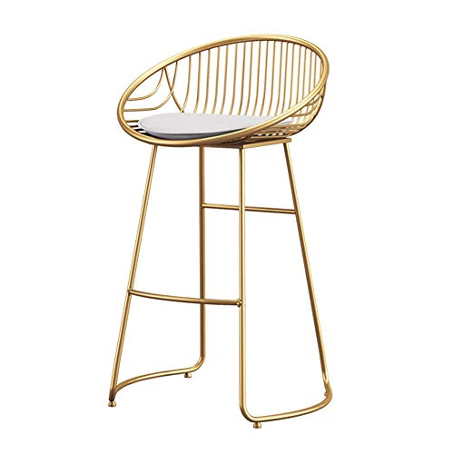 WEIMEI Barhocker, Golden Barstuhl Barstühle, Metallrahmen Kunstleder, Moderner Nordischer Stil, Gelten Esstheke Küchenstuhl, 43x45x75cm (Color : Gold, Size : 43x45x75cm)