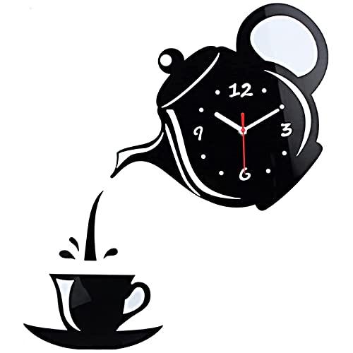 U-A Reloj de Pared de Tetera Moderna, Espejo de Bricolaje Forma de Taza de café Decoración (sin batería) - Fácil de Leer para la Cocina, Sala de Estar, baño, Dormitorio, Oficina, Plata