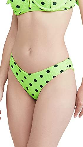 Beach Riot Women's Vanessa Bikini Bottoms, Lime Polka Dot, Green, Print, X-Small