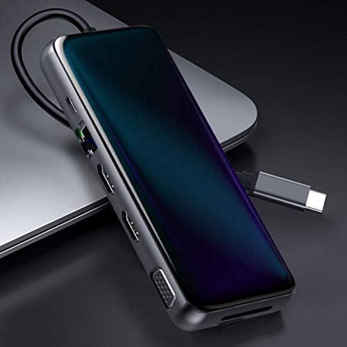OSALADI 1Pc USB 3. 0 12-In-1-Dockingstation Typ C 12-In-1-Laptop-Dockingstation (Schwarz)