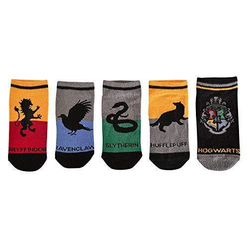 Elbenwald Harry Potter Sneakersocken-Set mit verschiedenen Motiven im Hogwarts Häuserwappen Design 5er Set Unisex - 35-38
