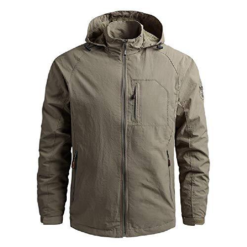 XIAOJU - Chaqueta cortavientos para hombre, ligera y casual con varios bolsillos, cortavientos, impermeable, elegante ropa de exterior Khaki-XXL