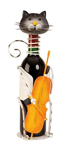 Lifestyle & More Moderner Wein Flaschenhalter Katze bunt mit Kontrabass aus Metall Höhe 36,5cm