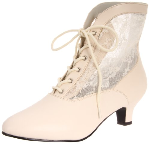 Pleaser  Dame 05,  Damen Kurzschaft Stiefel , Elfenbein - Off White (Ivory Pu Lace) - Größe: 41
