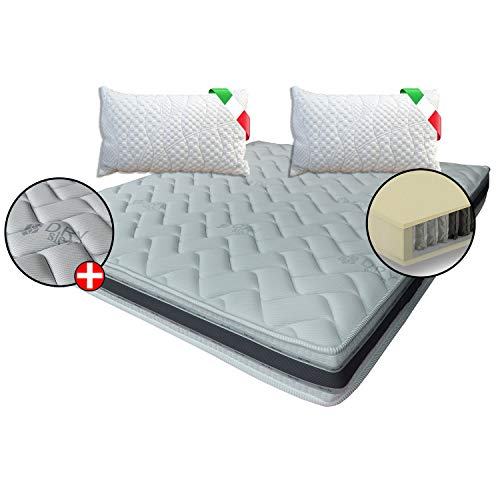 Colchón ortopédico 800 muelles ensacados Memory 7 zonas + 2 almohadas de regalo banda 3D transpirable de diseño, plaza y media, 125 x 190 cm