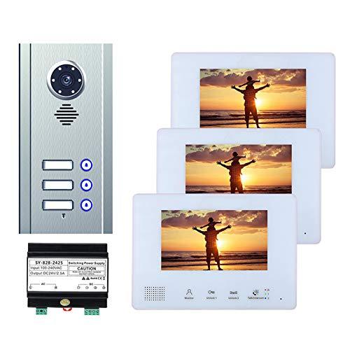 BUS 2 Cables Video Doorbell, Teléfono De Video De Video De 7 Pulgadas Intercomunicador Para El Hogar 3 Unidades Apartamento, Visión Nocturna Cámara + 3 Monitores