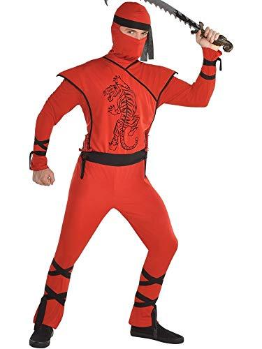 amscan 8401567-55 Disfraz de ninja rojo con mscara y cinturn  Tamao estndar  1 unidad