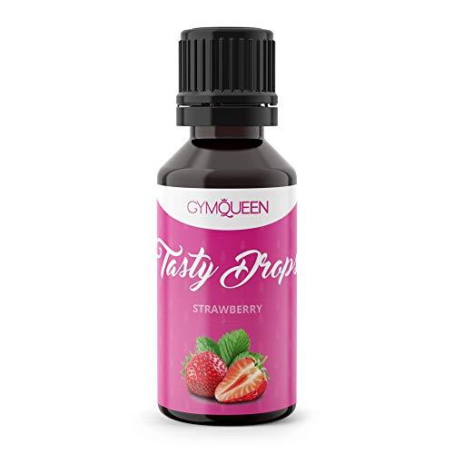 GymQueen Tasty Drops 30ml | Kalorienfreie, Zuckerfreie und Fettfreie Flavour Drops | Aroma Tropfen zum Süßen von Lebensmitteln | Geschmackstropfen ohne Künstliche Farbstoffe | Erdbeere