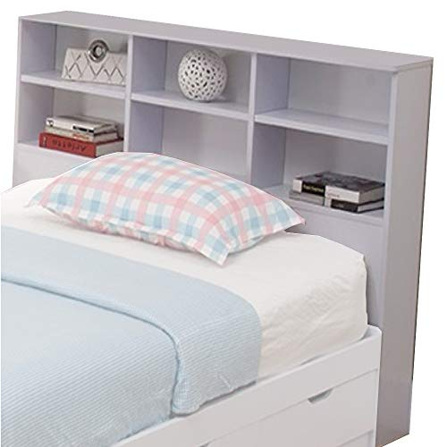 Benzara Wooden Full Size Bookcase Headboard with 6 Open Shelves, White