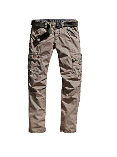 Timezone Herren Straight Leg Hose BenitoTZ cargo pants incl. belt, Gr. W34/L32, Beige (dirty sand 6166)