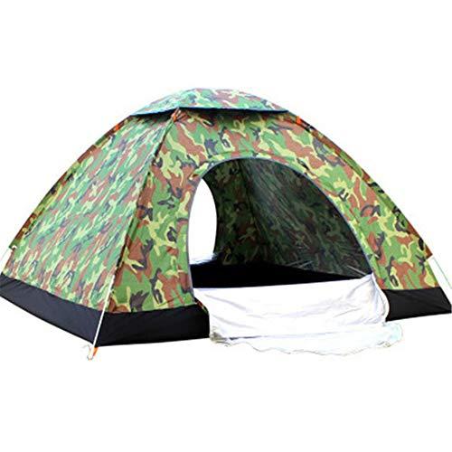 CHENGREN Extérieur Rapide Ouverte Tente Automatique, Double Beach Camping et Plein air Voyage Tente Simple Couche, en Fibre de Verre Statif Taud, 190T Pluie, du Vent, UV et insectifuge,Camouflage