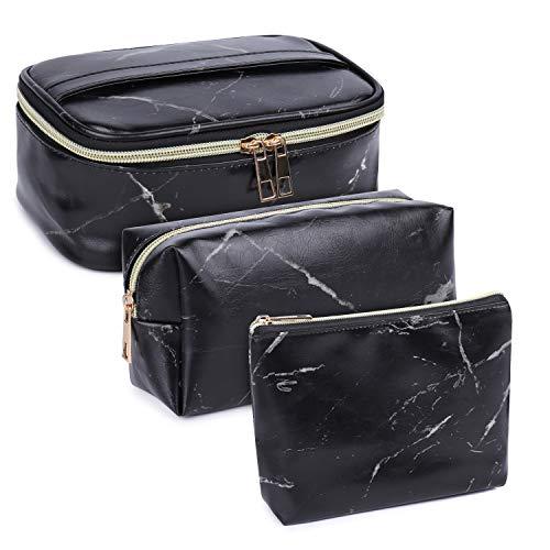 3 Stück Make Up Tasche Kulturbeutel Tragbar Reise PU-Leder Schminktasche Kosmetiktasche Mit wasserbeständig und strapazierfähigem (Marmor Schwarz)