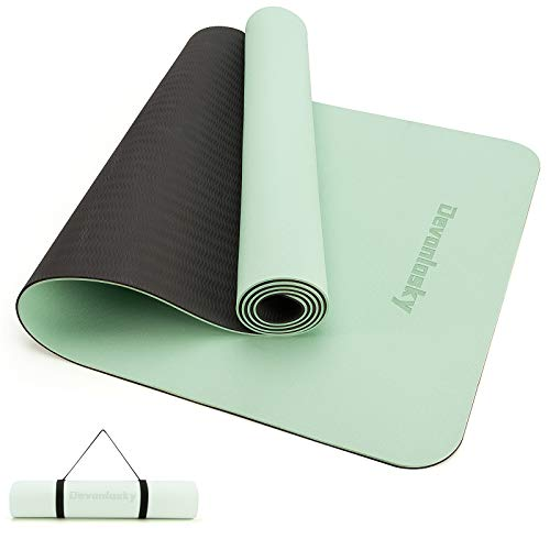 Devonlosky Yoga Mat, Non-slip Eco Friendly Exercise Yoga Mat for Men and Women, 1/4-Inch Thick High Density Pro Mat with Carrying Strap for Yoga Pilates and Fitness Exercise (Matcha Green/Black)